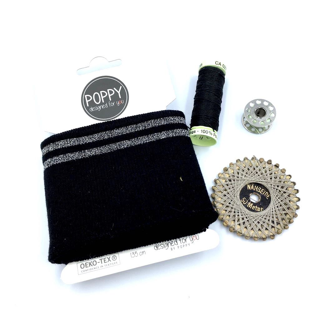 Cuffs by Poppy - Black Silver Sparkle - Frumble Fabrics