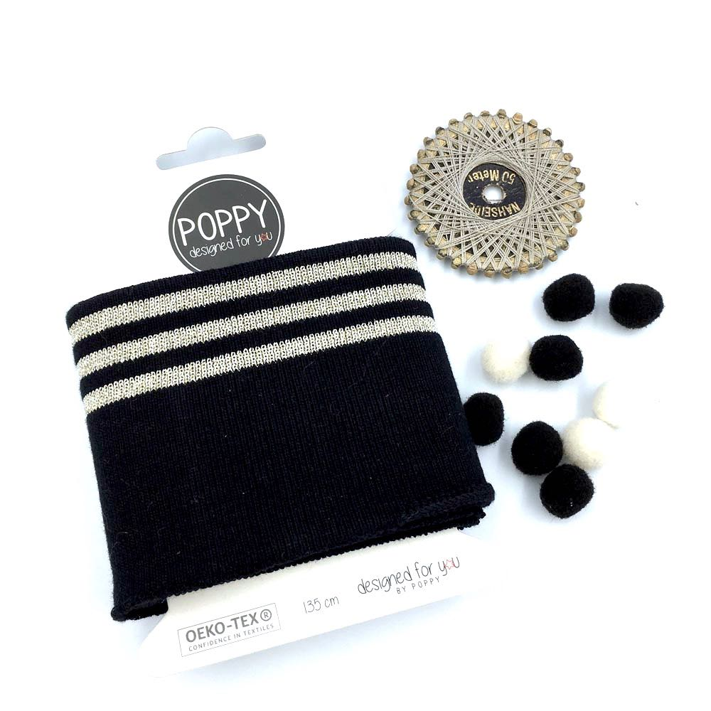 Cuffs by Poppy - Silver 3 Stripes Black