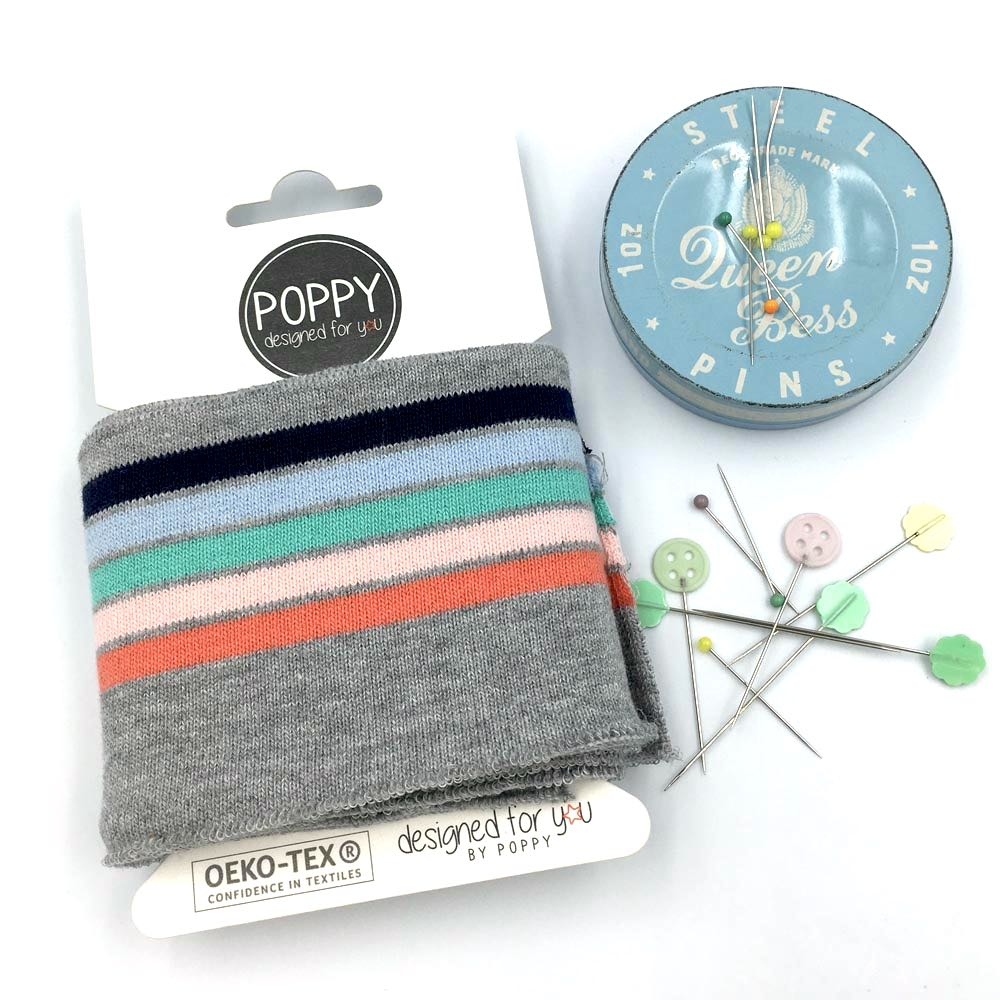 Cuffs by Poppy - Stripes Multi Light Grey