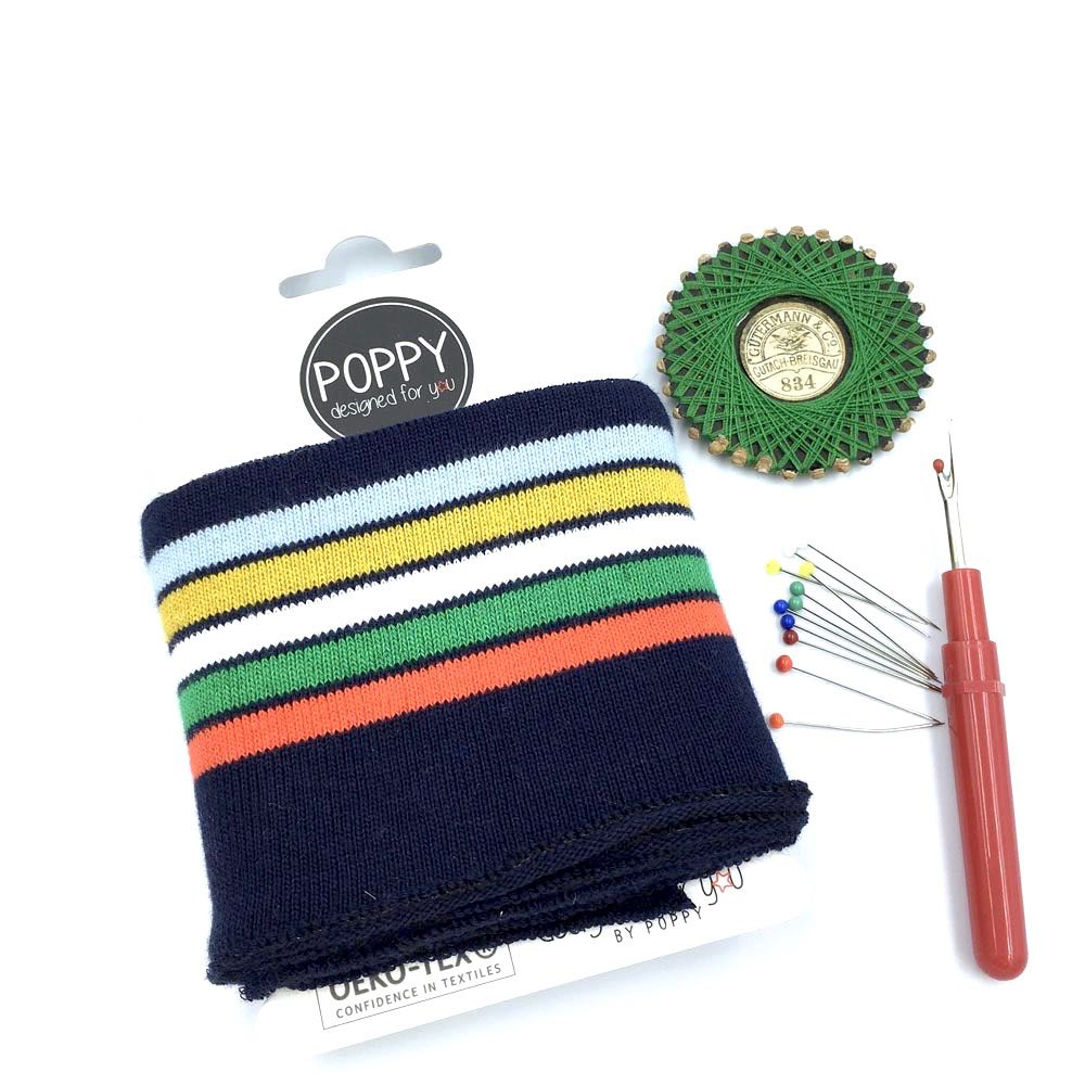 Poppy Cuff - Stripes Multi Navy