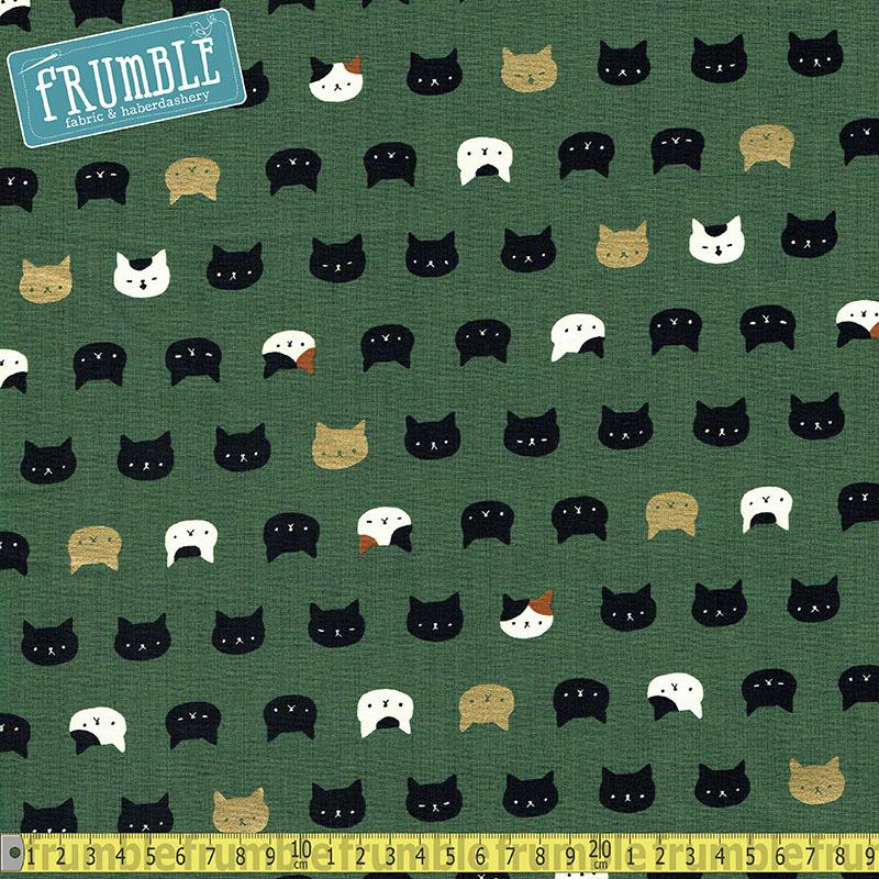 Metallic Hyakka Ryoran Cat Heads Green Fabric by Quilt Gate