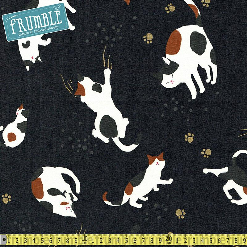 Metallic Hyakka Ryoran Playful Cats Charcoal Fabric by Quilt Gate
