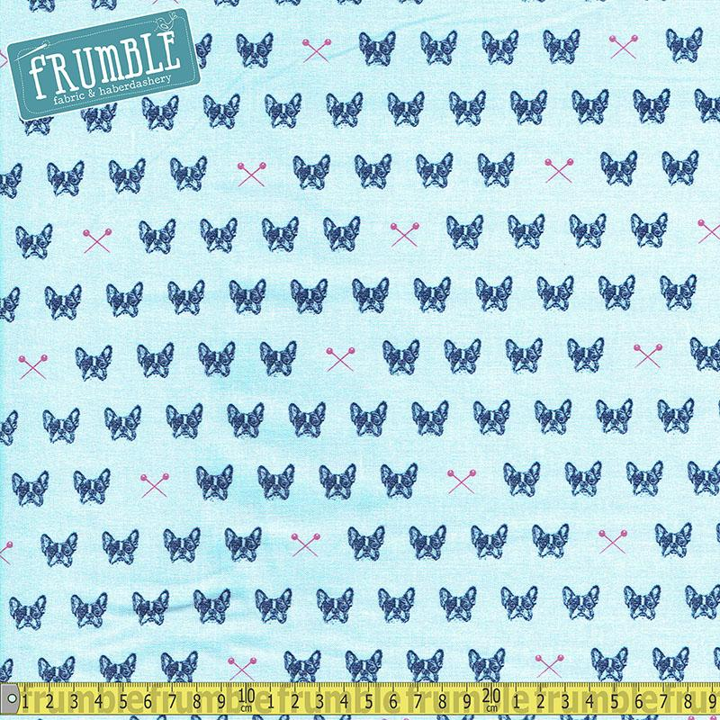 Blue Carolina Sewing Frenchies Blue Fabric by Riley Blake