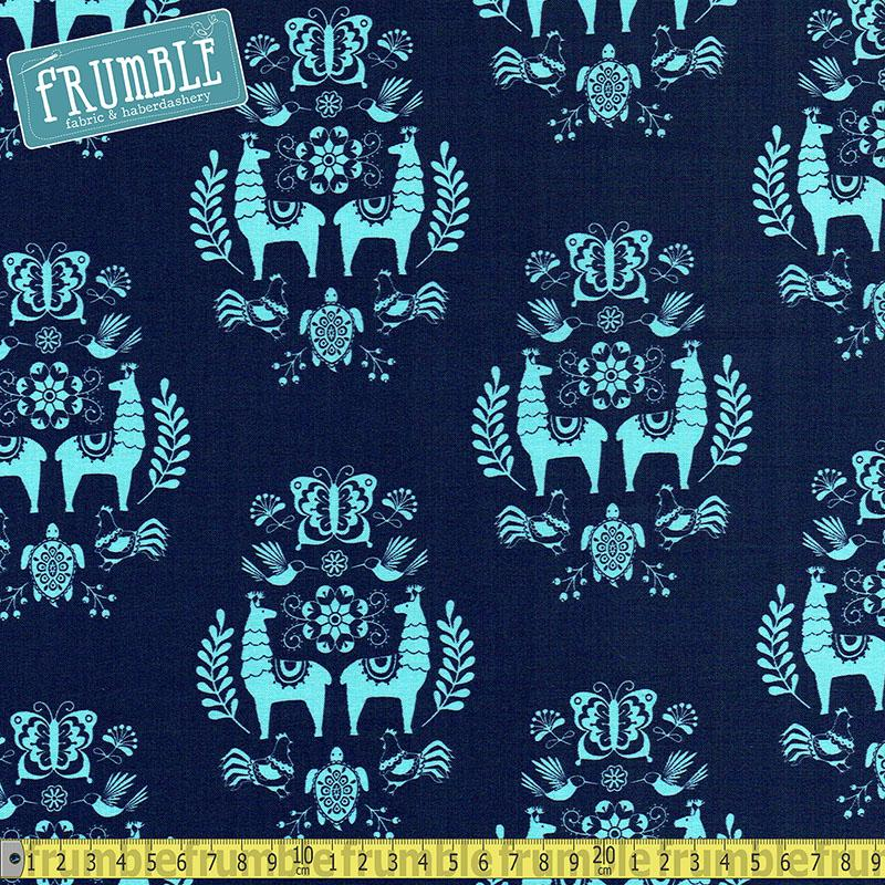 Juxtaposey Posey Medallion Navy Fabric by Riley Blake