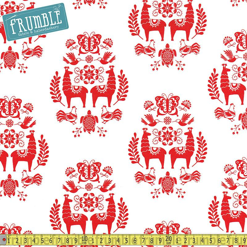 Juxtaposey Posey Medallion White - Frumble Fabrics