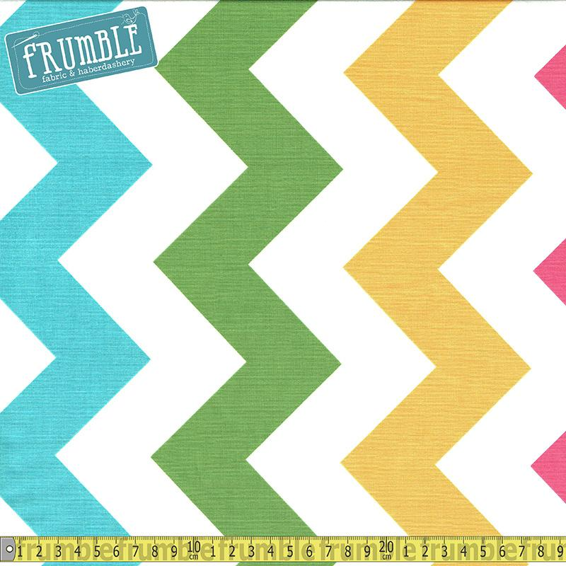 Large Chevron White & Girl Fabric by Riley Blake