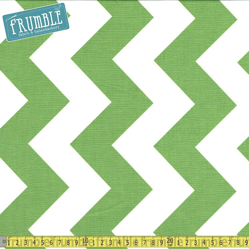 Large Chevron White & Green Fabric by Riley Blake