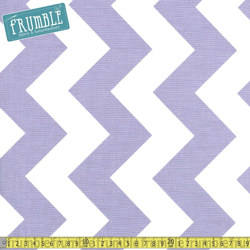 Large Chevron White & Lavendar - Frumble Fabrics