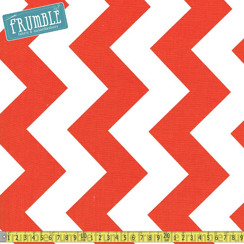 Large Chevron White & Orange Fabric by Riley Blake