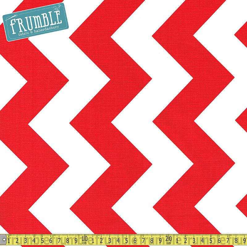 Large Chevron White & Red Fabric by Riley Blake