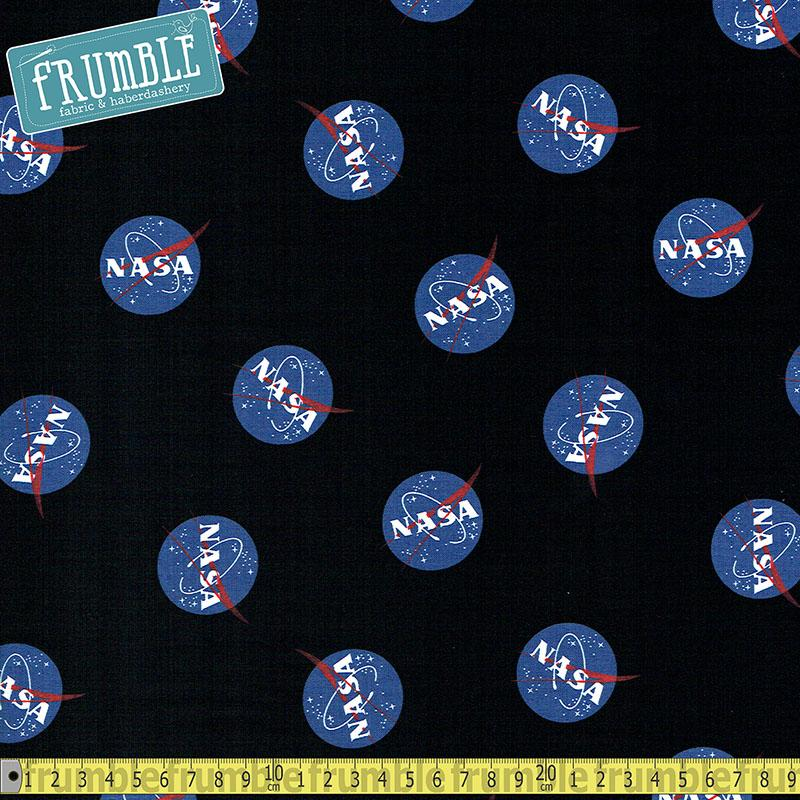 NASA Out Of This World Logo Black Fabric by Riley Blake