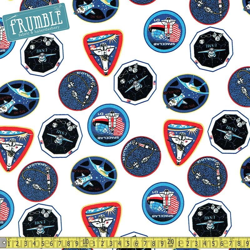 NASA Out Of This World Shuttle Badges White Fabric by Riley Blake