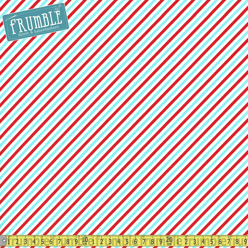 Pixie Noel Candy Stripe Red Fabric by Riley Blake
