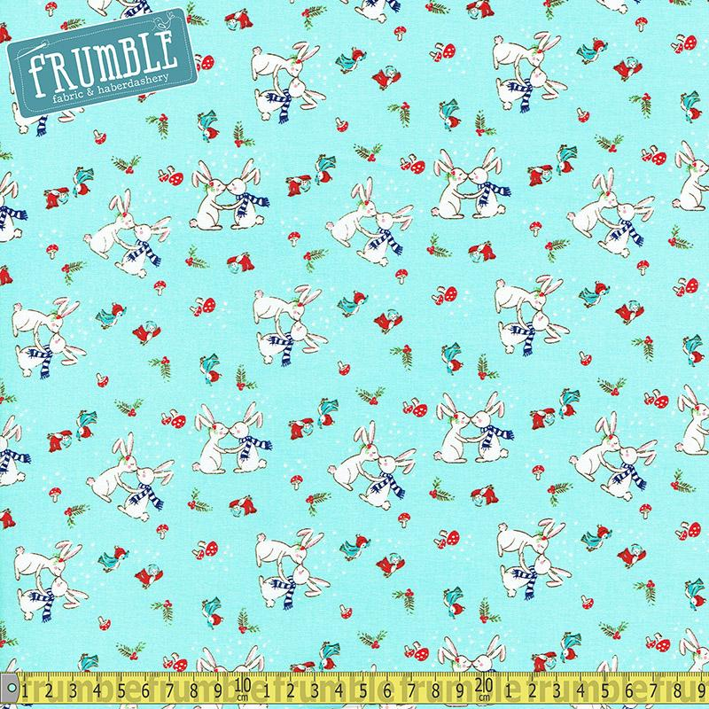 Pixie Noel Christmas Kiss Aqua Fabric by Riley Blake