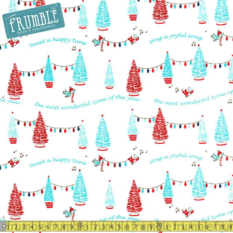 Pixie Noel Joyful Trees White - Frumble Fabrics