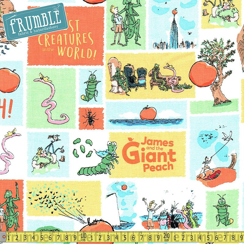 Roald Dahls James and The Giant Peach Main White - Frumble Fabrics