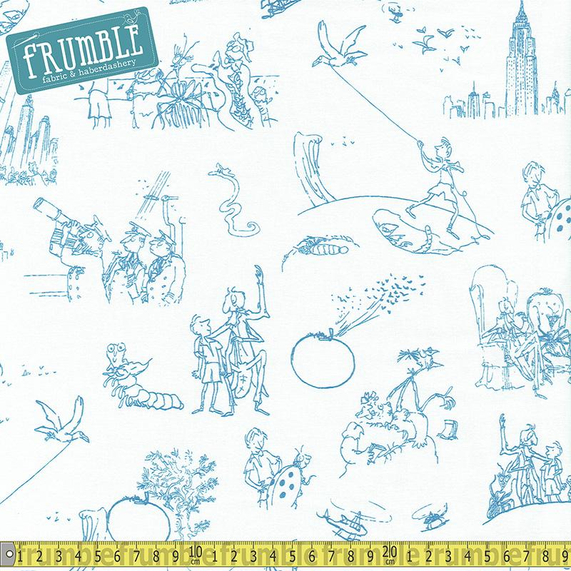 Roald Dahls James and The Giant Peach Sketches White - Frumble Fabrics