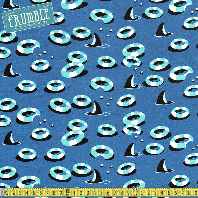Sharktown Chomp Blue - Frumble Fabrics