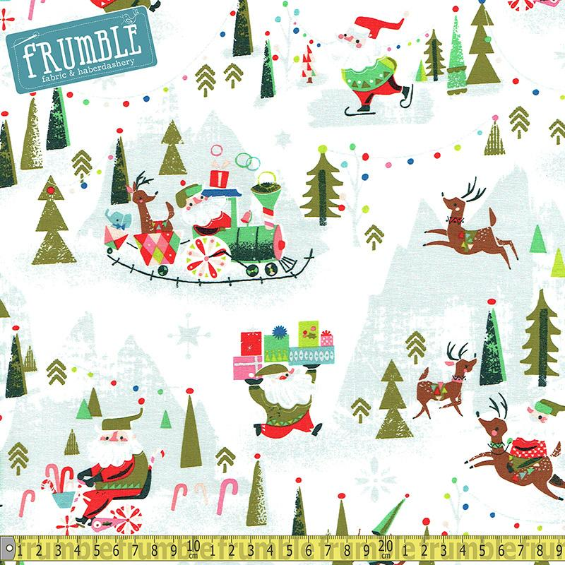 Way Up North Santa In The Forest Grey Fabric by Riley Blake