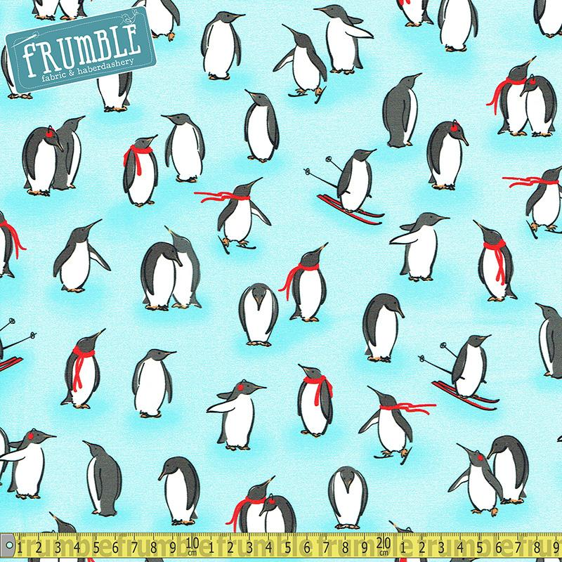 Animal Kingdom Penguins Ice Blue - Frumble Fabrics