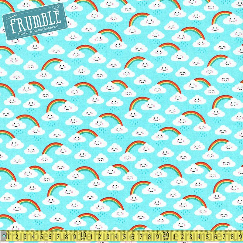 Daydreamer Rainbow Clouds Blue - Frumble Fabrics
