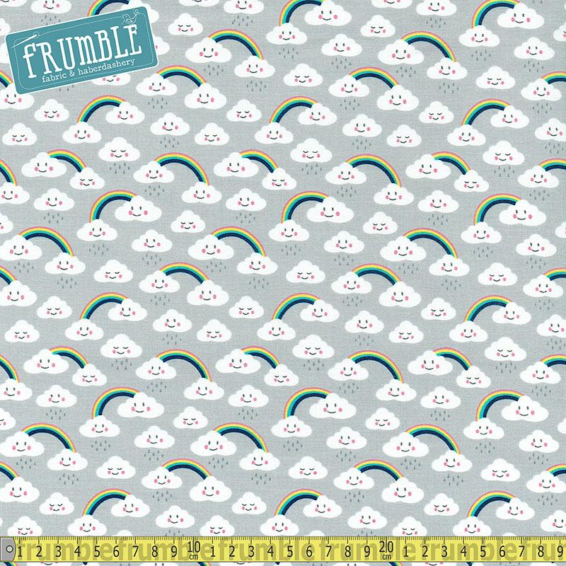 Daydreamer Rainbow Clouds Grey - Frumble Fabrics