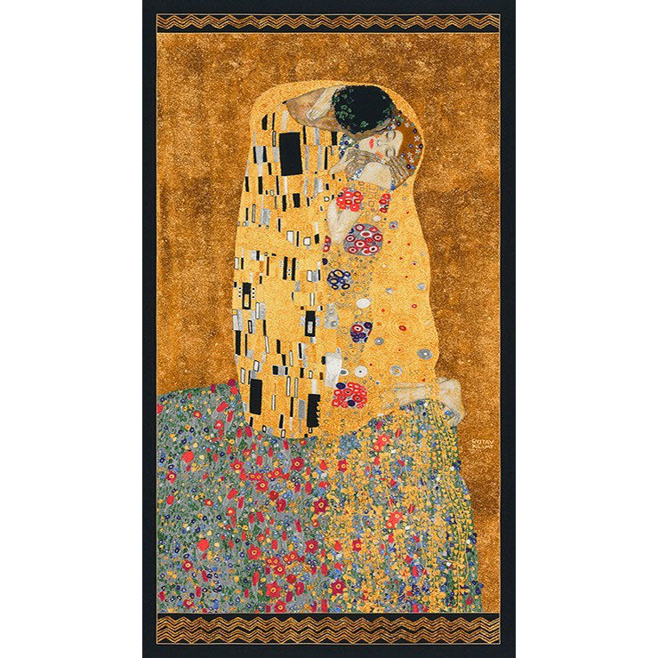 Gustav Klimt The Kiss Metallic Gold Panel - Frumble Fabrics