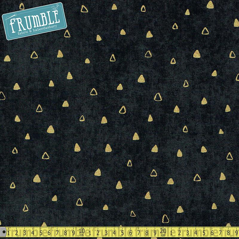 Gustav Klimt Triangles Black Metallic - Frumble Fabrics