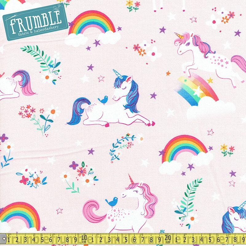Happy Little Unicorns Pink Fabric by Robert Kaufman