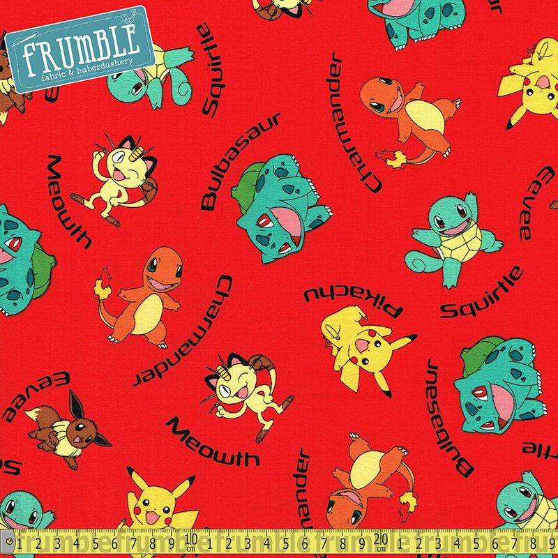 Pokemon Characters Red Fabric by Robert Kaufman