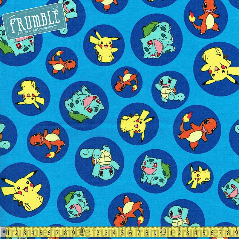 Pokemon Colour Characters In Circles Blue Fabric by Robert Kaufman