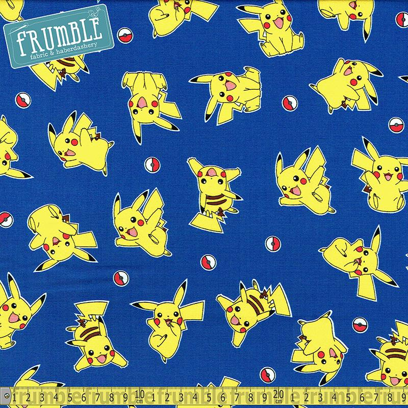 Pokemon Flying Pikachu Blue Fabric by Robert Kaufman