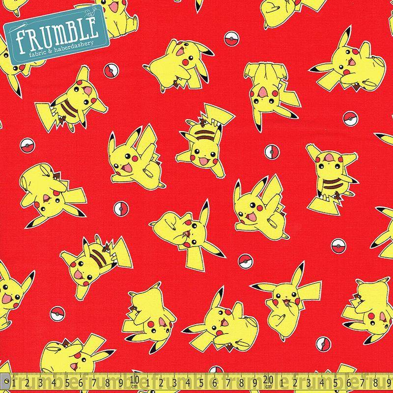Pokemon Flying Pikachu Red Fabric by Robert Kaufman