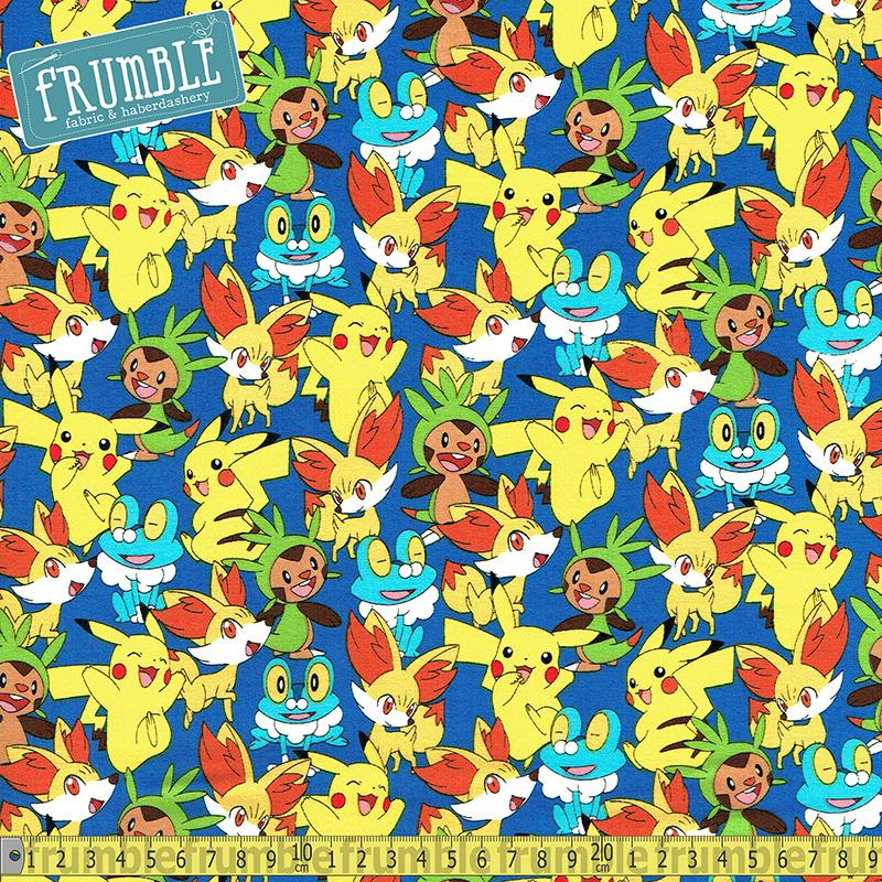 Pokemon Pikachu And Friends Royal Fabric by Robert Kaufman