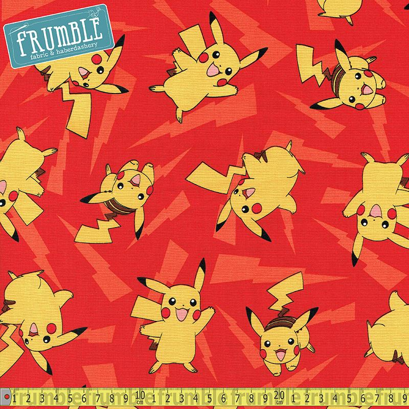 Pokemon Pikachu Lightning Red - Frumble Fabrics
