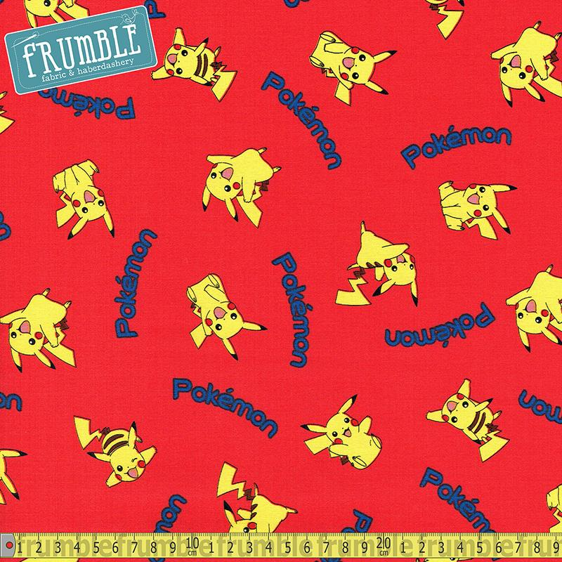 Pokemon Tossed Pikachu Red Fabric by Robert Kaufman