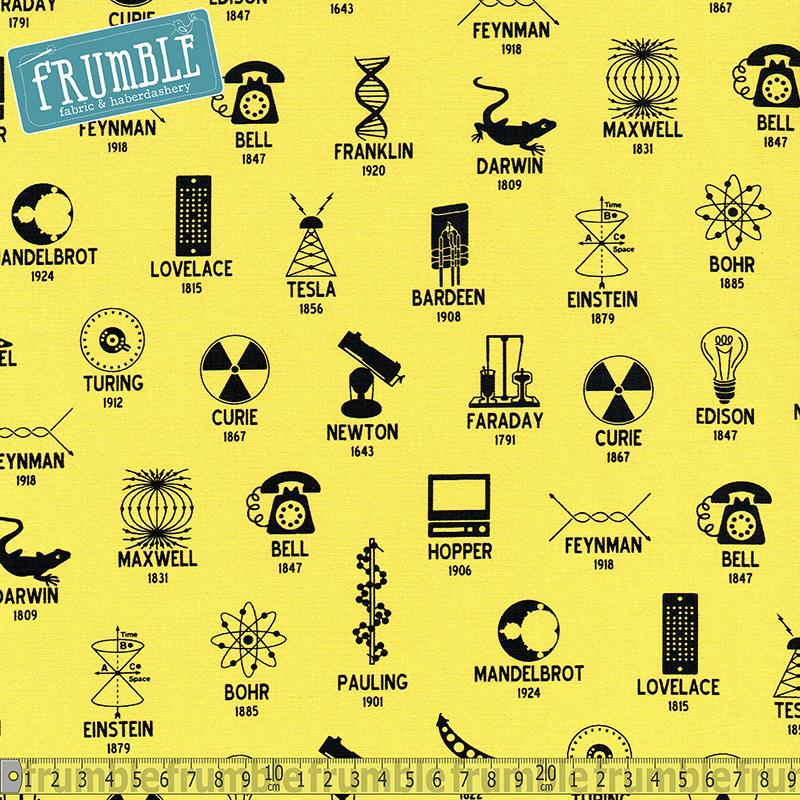 Science Fair 2 Scientists And Symbols Yellow Fabric by Robert Kaufman