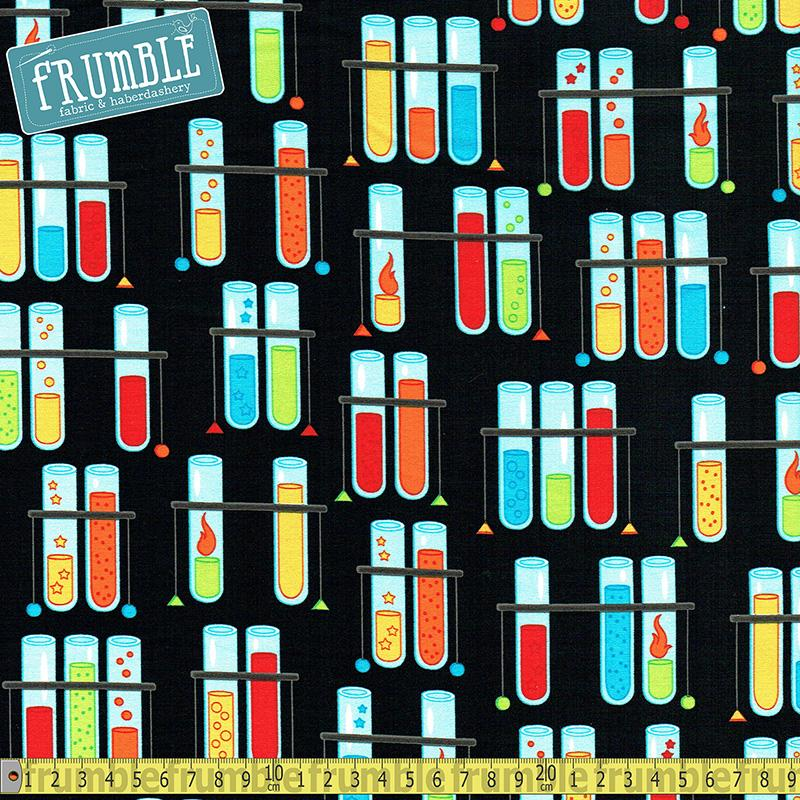 Science Fair 2 Test Tubes Multi Fabric by Robert Kaufman