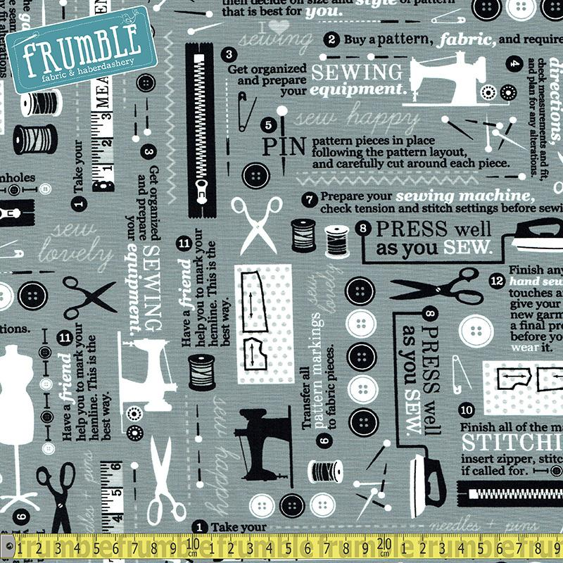 Sewing Studio 2 Haberdashery Grey - Frumble Fabrics