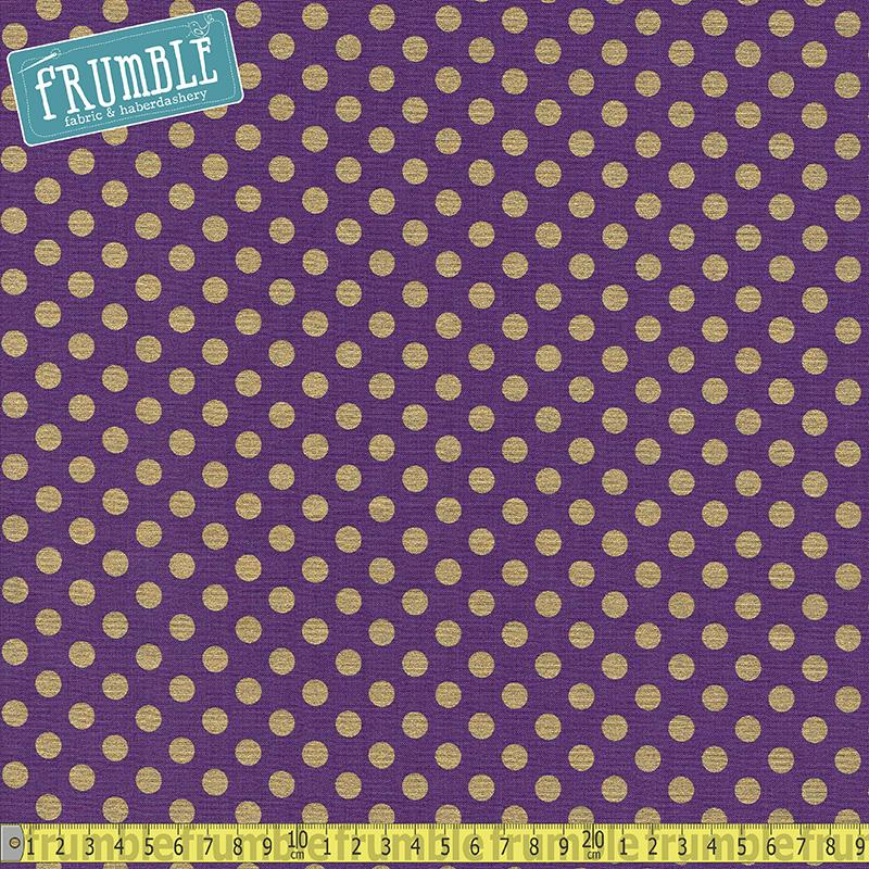 Spot On Metallic Medium Dot Plum Fabric by Robert Kaufman