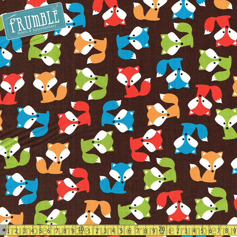 Urban Zoologie Foxes Brown Fabric by Robert Kaufman