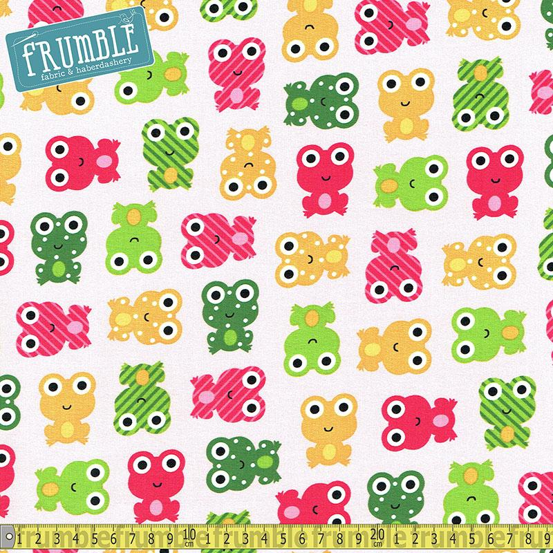 Urban Zoologie Frog Pink Spring Fabric by Robert Kaufman