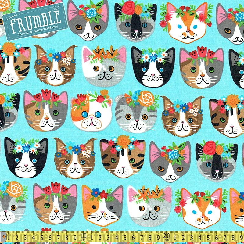 Whiskers & Tails Frida Cats Blue Fabric by Robert Kaufman