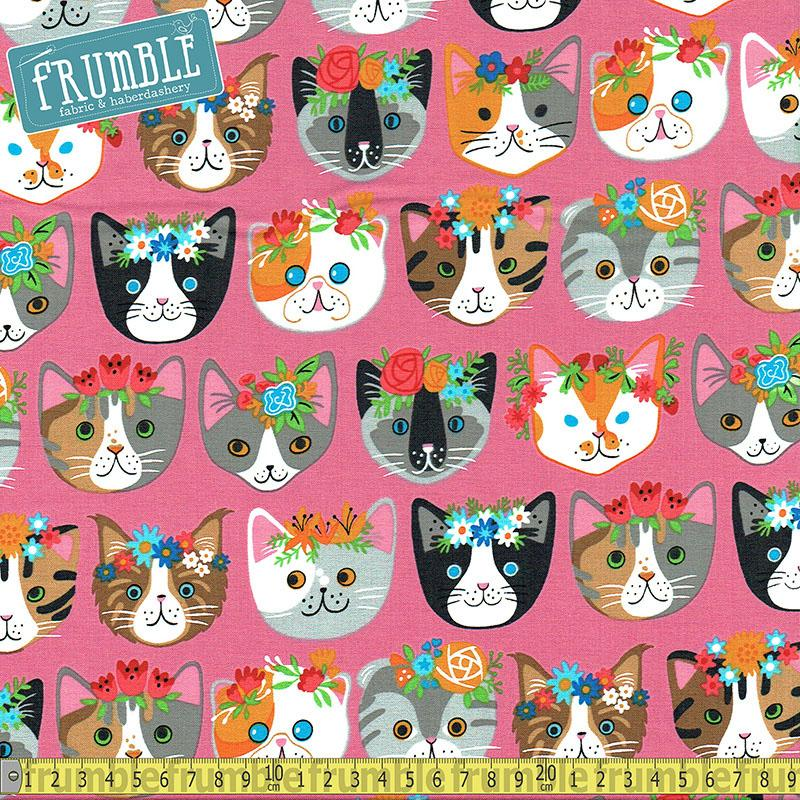 Whiskers & Tails Frida Cats Pink Fabric by Robert Kaufman