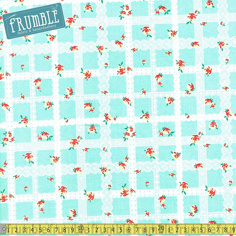 Bunnies And Blossoms Lace Teal - Frumble Fabrics
