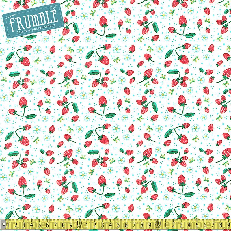 Bunnies And Blossoms Strawberry Cream Fabric by Riley Blake