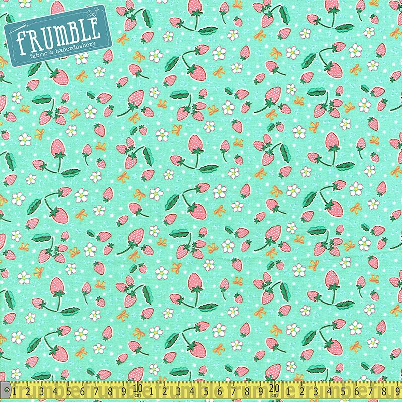 Bunnies And Blossoms Strawberry Teal Fabric by Riley Blake