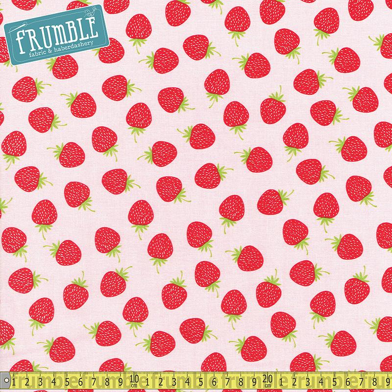 Butterflies And Berries Strawberry Pink Fabric by Riley Blake