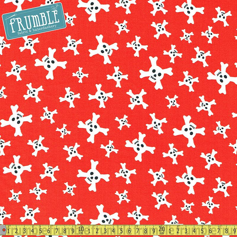 Flannel Treasure Trap Skulls Red - Frumble Fabrics