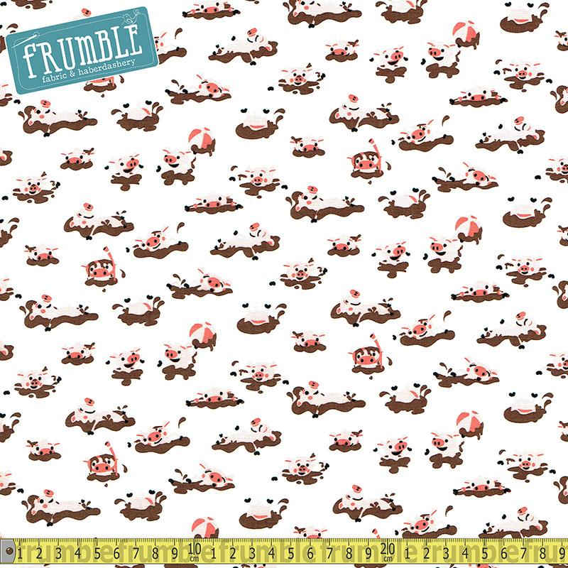 Harmony Farm Pigs White Fabric by Riley Blake